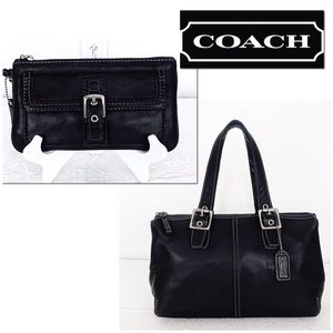 Coach Legacy Black Leather Satchel & Wristlet Set